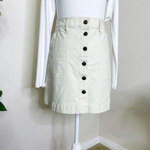 J. Crew Mercantile Button Mini Skirt Cream Size 6